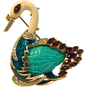 REDUCED Hattie Carnegie Figural Swan Brooch