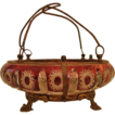 * Victorian: Uncommon ABP Ruby Red Cut to Clear Brides Basket Caged in Ormolu