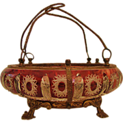 REDUCED ** Victorian: Uncommon ABP Ruby Red Cut to Clear Brides Basket Caged in Ormolu
