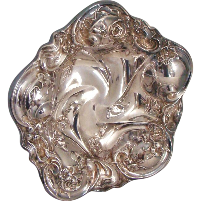 Pre 1898: Lovely and Large, Art Nouveau Bowl By Forbes Silver company