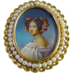 "Circa 1910: 18K Gold, Hand Painted Miniature Portrait Brooch / Pendant of "" Auguste Strobel """