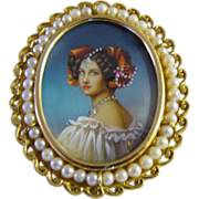 Circa 1910: 18K Gold, Hand Painted Miniature Portrait Brooch / Pendant of &quot; Auguste Strob
