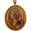 "Circa 1910: 18K Gold Hand Painted Miniature Portrait of "" Simonetta Vespucci """