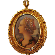 Circa 1910: 18K Gold Hand Painted Miniature Portrait of &quot; Simonetta Vespucci &quot;
