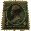 1883:  Rare Scott Stamp 211D 4c Deep Blue Green