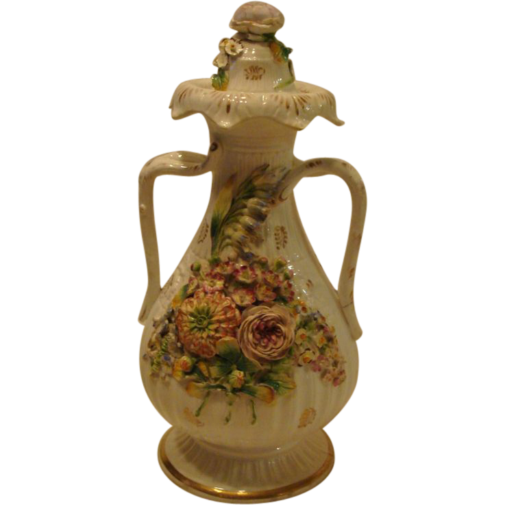 Circa 1830's: Early Encrusted Coalport  Vase & Cover