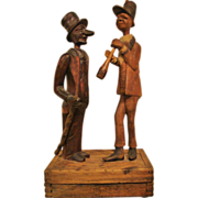 Circa 1900: Fabulous Folk Art Tobacco Box with Pipe Top Hats