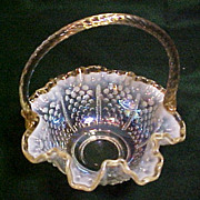 Fenton French Opalescence Topaz Crest Glass Basket, Ruffled Edge Hobnail Pattern