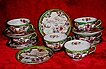 COMPLETE Signed 12 Piece Set of Six Bibi Cups with Six Saucers, Handpainted Flower Garden Scenes, circa 1930-40s