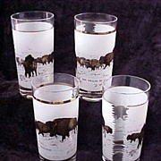 "Set of Four (4) ""The Wealth of Yesterday"" American Bison/Buffalo Tumblers (Glasses),"