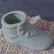 Vintage Shawnee Pottery Button Shoe Planter, Sky Blue, circa 1940s