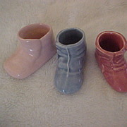 Trio of Small Baby Shoe Planters, Blue, Mauve and Pink, Unmarked, circa 1950s