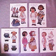 Five (5) Uncut Dolly Dingle Paper Doll Cut-Out Doll Postcards, Grace Drayton, 1984 edition