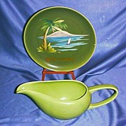 Two Bauer Beauties, Hand Painted California Plate and La Linda Gravy/Sauce Boat, circa 1939-42
