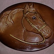Painted Chalkware (Plaster of Paris) Horse Head Wall Plaque, circa 1950-60