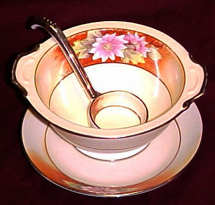 Noritake Hand Painted Three Piece Mayonnaise Set, Floral Pattern, circa 1918