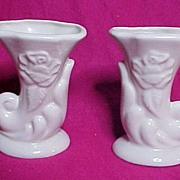 Matched Pair American Bisque Pottery Ivory Rose Cornucopia Vases, circa 1950s