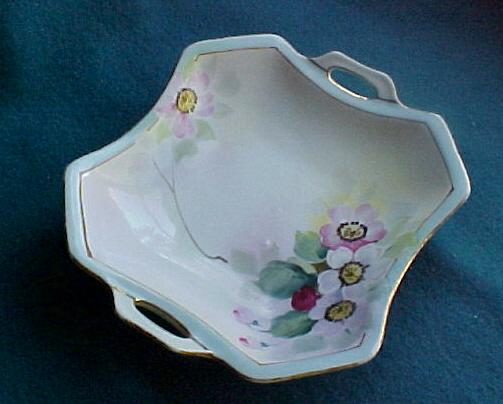 Hand Painted Nippon Bon Bon/Side Service Dish, Floral Pattern, Blue Rising Sun Backstamp, circa 1910-20s