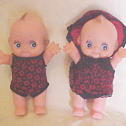 "Twin 8"" Vinyl Kewpie Dolls, Dressed in Black and Red"