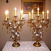 REDUCED Magnificent Huge French Porcelain Flowers Candelabra Lamps Pair
