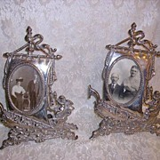 SOLD Huge Pair Antique Victorian Nouveau Sailing Ships Metal Frames with Cherubs - Red Tag Sal