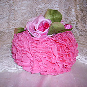 Superb Vintage Ladies Hat  by Mr. Charles - Pink Ruffles - The Best
