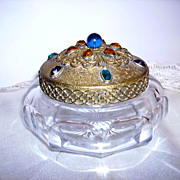 SOLD Beautiful c.1920's Heisey Large Jeweled Dresser Jar  Trinket Jar Vanity