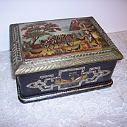 Antique French 19th c. Black Lacquer Box Abalone Inlay