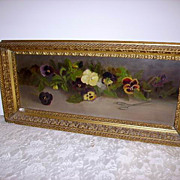 SOLD Antique 19th c. Pansies Oil on Board in Original Gilt Frame - Red Tag Sale Item