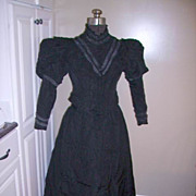 Antique 1800's Victorian Gown Mourning Dress Beaded & Lace 3 pc.