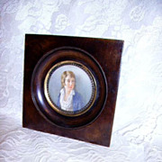 SOLD Early 1800   French Miniature Portrait Young Lad Hand Painted Original Frame - Red Tag Sa