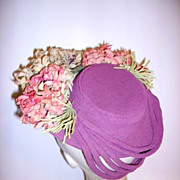 Fabulous Vintage 1940's Fabric Flowers Ladies Hat  So Cute
