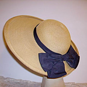 SOLD Vintage 1940-50's Wide Brim Woven Picture Hat Original Gus Mayer New Orleans