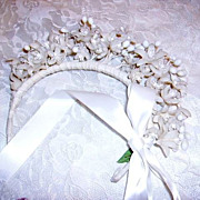 Divine 1920's-30's Wax Flowers Orange Blossoms Wedding Tiara or Crown