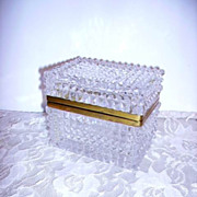 Gorgeous Antique French Glass Casket Box Diamond Cut Glass Signed Made In France