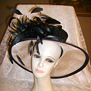 SALE Gorgeous Huge Wide Brimmed Ladies Hat by Peter Bettley London Derby Hat
