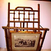 Antique Victorian Oak Stick & Ball Magazine Rack Easel Stand