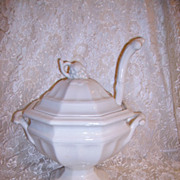 Red Cliff White Ironstone Tureen Large with Ladle