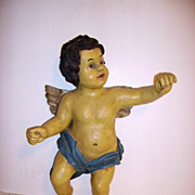 Amazing 1930's Huge Carved Cherub Wall Art