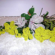 Old 1920's French Beaded Flowers Lot of 10 Long Stem