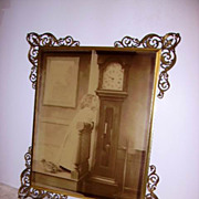 Large Victorian 1896 Child Litho under Glass Ornate Ormolu Corners