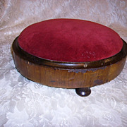 Antique Victorian Footstool Red Velvet Ladies Footstool