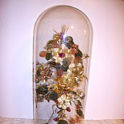 Huge Antique Victorian Glass Dome with Victorian Silk Thread Flowers 30""