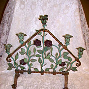 Fabulous Old Forged Iron Floral Roses Garden Candelabra 5 Light