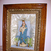Antique Religious Shadowbox Icon Virgin Mary Statue Oak/Gesso Frame