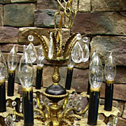 Gorgeous Vintage Spanish Brass Black Gold Chandelier Prisms 8 Lights