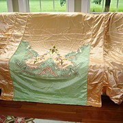 Exquisite 1930's Satin Applique Bedspread Set Hollywood Glam 8 pc.