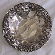 Large ANTIQUE STERLING BOWL - Kirk Repousse (Floral Motif), c1890