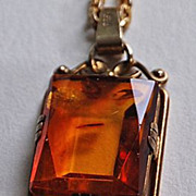 Vintage AMBER NECKLACE - 835 Silver / Long Ornate Chain