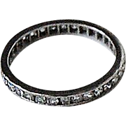 Vintage Diamond ETERNITY BAND - 14K White Gold, c1920